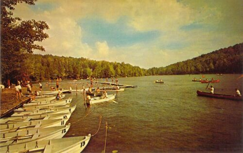 NY Binghamton TUSCARORA BOY SCOUT CAMP Canoeing 1959-64 postcard BS4