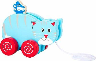 Ziehtier Katze und Maus Nachziehspielzeug Nachziehtier Spielzeug Babys aus Holz
