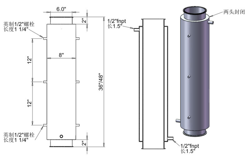 """HFS(R) 6"""" Jacketed Spool x 36"""" Length - 1/2"""" FNPT Ports"""