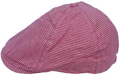 Cool4 Kleinkind 6-Panel Hahnentritt Flatcap Rot-Weiß Schiebermütze KC18 Kleine Flat Panel