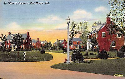 Md Fort Meade   Military  Officers Quarters   Vintage Unused Linen Postcard