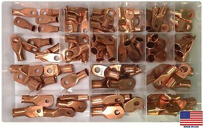90 Large Copper Lug Battery Ring Terminals Wire Connector Assortment Kit - Usa