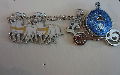 Disney Blue Pumpkin Coach Cinderella and Prince Charming Horses Coach pin LE 250