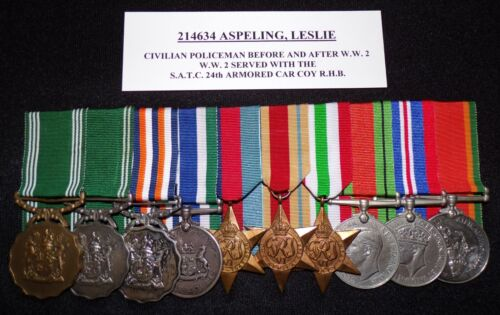 WW 2 & POST WAR, SOUTH AFRICAN ARMY GROUP OF 10 COURT MOUNTED MEDALS + RESEARCH!