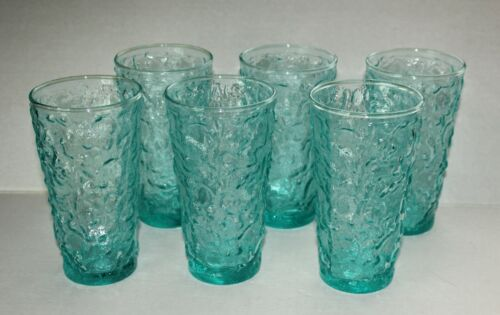 Anchor Hocking Lido Aquamarine Glasses / Tumblers (6) Vintage Retro Glassware