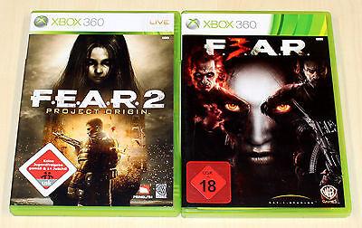 2 XBOX 360 SPIELE SET - FEAR 2 PROJECT ORIGIN & FEAR 3 F3AR F E A R - SHOOTER