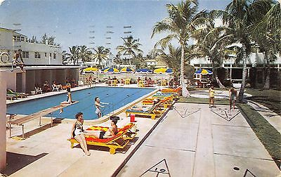 Miami Beach Florida 1951 Postcard New Surf Hotel Private Beach Pool & Cabanas ()