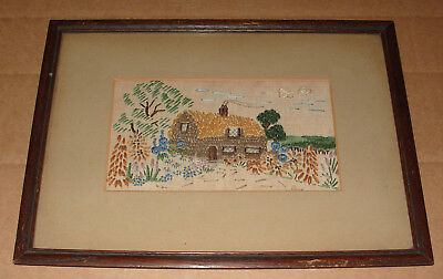 Charming Vintage Old Framed Silk Embroidery Picture of Cottage and Garden