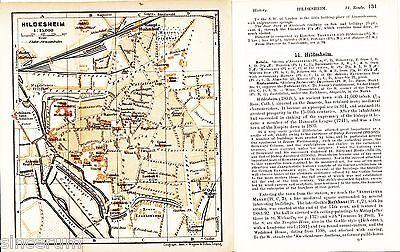 Hildesheim 1900 kl. orig. Stadtplan + engl. Reisef. (4 S.) Michaelis Lamberti-K.