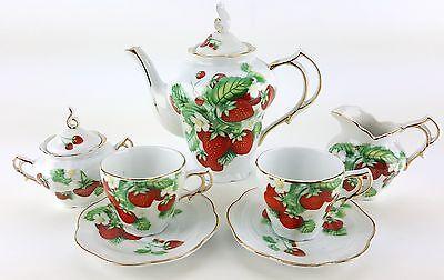 - PETITE STRAWBERRIES PORCELAIN TEA SET TEAPOT SUGAR BOWL CREAMER 2 TEACUPS