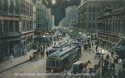 LOS ANGELES CA – Spring Street looking South from Franklin at Night