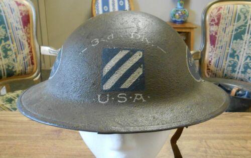 Original WW1 AEF 3rd Infantry Division Engagement Dates Painted Helmet & Liner
