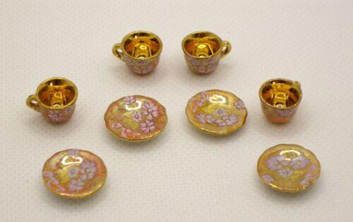 Rachel Munday Hand Decorated Peach & Gold Tea Cups Artist Dollhouse Miniature