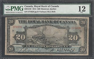 Canada  Royal Bank Of Canada 1913  20 00  Train  Pmg 12 Fine Wl5459