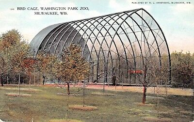 MILWAUKEE WI~BIRD CAGE-WASHINGTON PARK ZOO-M L ANNENBERG PUBL POSTCARD 19610s