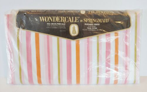 Springmaid Twin Fitted Sheet Wondercale No Iron Percale Sunbeams Pink Stripe New