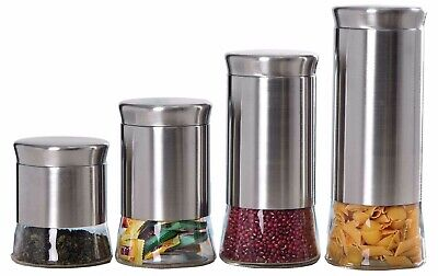 Home Basic NEW 4 Piece Essence Canister Stainless Steel Food Storage Set (Stainless Steel Storage Canister)