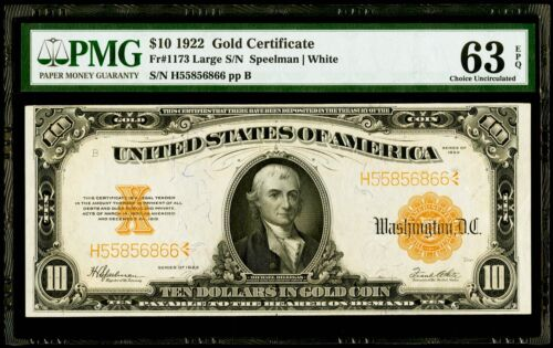 $10 1922 Fr#1173 Large S/N Gold Certificate Speelman | White PMG 63 EPQ CU