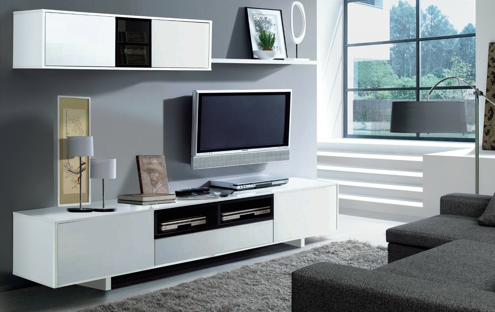 Modern complete wall tv entertainment unit cabinet grey black white gloss ebay - Muebles de valencia fabricantes ...