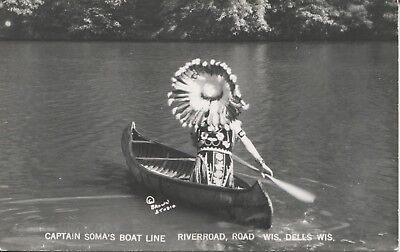 Real Photo Postcard RPPC Indian in Canoe Dells Wisconsin Cap't Soma's Boat Line