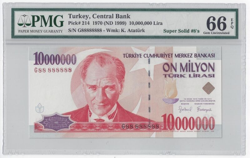 1999 TURKEY 10000000 LIRA  #G88 888888  PMG-66 GEM UNCIRCULATED  SUPER SOLID 8