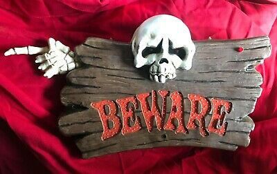 Halloween Beware sign prop lights up with sounds