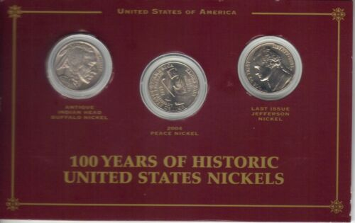 100 Years Of American Nickels - 3 Coin Set - Indian Head, Peace, Last Jefferson