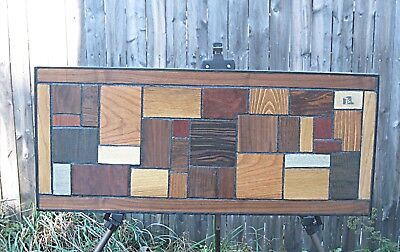 Vintage Modern Exoitic Wood Wall art Panel Sculpture Mid Century Signed Keen