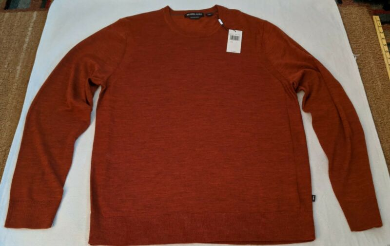 Michael Kors Mens Large Extra Fine Merino Wool Sweater Crew New W/Tags $128