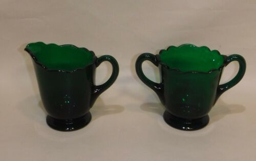 Forest Green Glass ~ Creamer & Sugar Set ~ Elegant Scalloped Edge