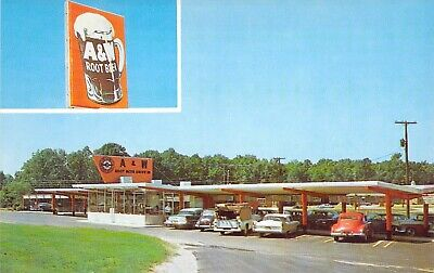 A&W ROOT BEER DRIVE IN typical c1960 Dexter Press MINT CONDITION postcard A82