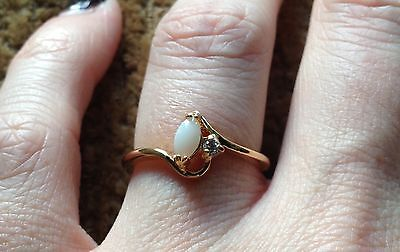 Genuine Opal Free Shipping Cz Solitaire Fashion Costume Ring Yellow Gold Size 7