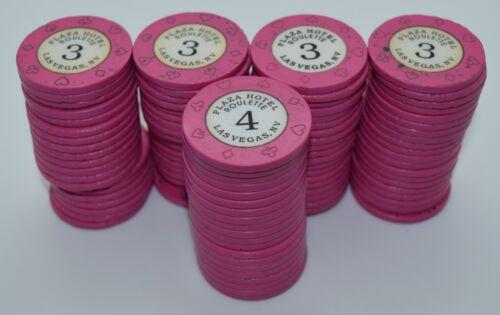 Set of 100 Plaza Roulette Mix Casino Chips Las Vegas Nevada 8-Suits Mold 1992