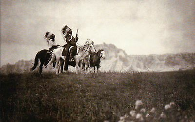 Sioux Chiefs On The Plains Of Dakota  Native American Indian  Horses    Postcard