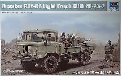 TRUMPETER® 01017 Russian GAZ-66 Light Truck w/ZU-23-2 Gun in 1:35