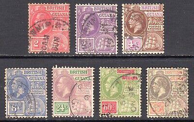 BRITISH GUIANA 1921-27 KGV wmk Script CA vals to 96c U, SG 273//282 cat £115