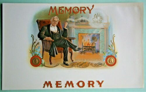 """""""MEMORY"""" Inner Lid Cigar Box Label, form early 1900"""