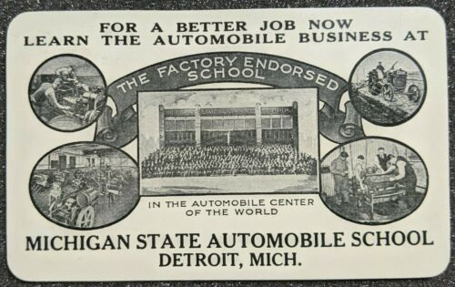 Original 1925 Michigan State Automobile School Detroit Advertisement Card