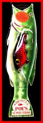 """#841 Vintage 1987 POE/'S 3.5/"""" Deep Runner SUPER CEDAR White Blue Fishing Lure"""