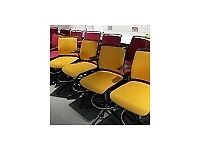 Senator Draughtman Chair, Armrests, Footrest, Fixed Base (Red / Yellow)