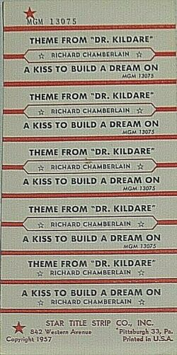 "JUKEBOX TITLE STRIP SHEET - RICHARD CHAMBERLAIN ""Theme From Dr. Kildare"" 13075"