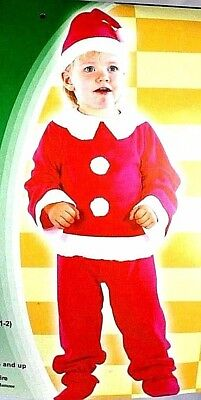 Elf Shelf Santa Baby Costume Toddler Christmas Red Suit Entire Set Size 2-4 T (Toddler Santa Costume)