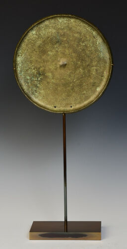 12th Century, Angkor Vat, Antique Khmer Bronze Mirror with Stand