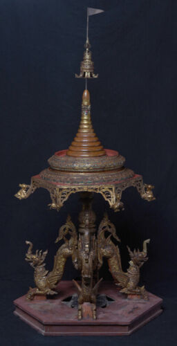 Early 19th Century, Antique Burmese Wooden Offering Tray with Mythical Animals
