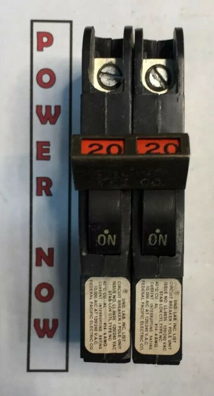 Federal Pacific FPE Stab-Lok Breaker 2 Pole 20 Amp 240V Thin - Ships Today