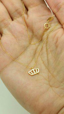 14k Gold Crown Pendant - 14k Yellow Gold Mini Gold Crown Charm Pendant Necklace Chain Dainty