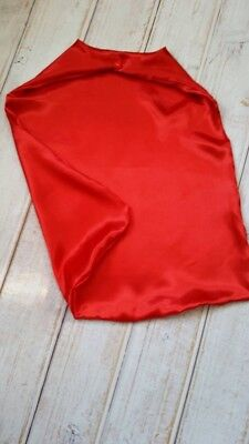 "Satin superhero cape for kids 24"" handmade, snap closure, toddler plain red cape (Superhero Capes For Toddlers)"