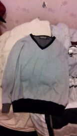 Used Topman Extra Large Two Tone Grey Dark Grey Black Sweater Jumper XL Urban Outfitters Zara H&m