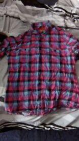 Used Topman Gingham Check Short Sleeve Flannel Shirt Medium M Pink Purple Turquoise Black Zara H&M