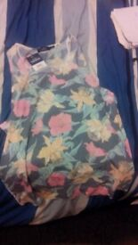 New with Tags Topman Tank Top Vest Floral Flowers Green Navy Yellow Pink Large L Zara H&M Nike Huf
